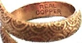 Solid Copper Snake Ring, Inside View