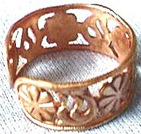 Solid Copper Floral Band, Inside View
