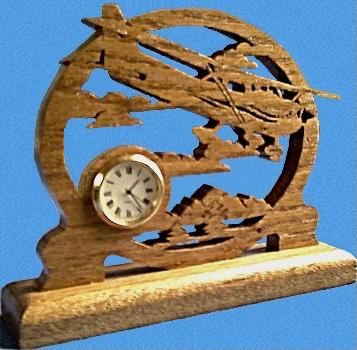 Desk Clock Airplane, Front View.