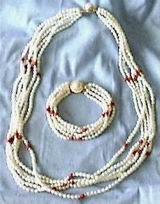 6-Strand Pearl Bracelet/Necklace Set