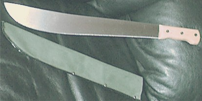 Machete and Green Canvas Sheath