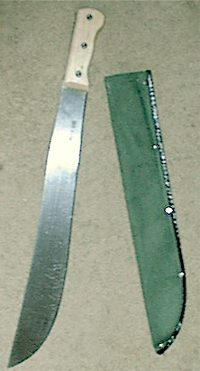 Machete With Green Canvas Sheath